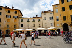 Lucca Piazza Anfiteatro Royalty Free Stock Images