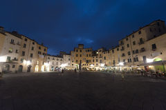 Lucca, Piazza Anfiteatro by night Royalty Free Stock Images