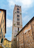 Lucca`s historic center and medieval Tuscan cathedral bell tower Italy Royalty Free Stock Image
