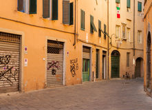Lucca Sidestreet. Lucca is a small city in the Tuscan region of Italy.  This is an image of a sidestreet in the center of the old town Stock Image