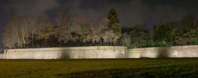 Lucca-Stadtwände und -bäume. Panoramische Nachtansicht. Toskana, Italien Stockfotos