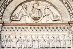 Lucca (Tuscany) - Detail of the Cathedral facade Stock Photos