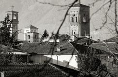 Lucca tuscany italy landscape of bell towers Royalty Free Stock Images