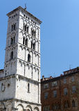 Lucca (Tuscany, Italy). Medieval church of San Michele in Foro, belfry Stock Images
