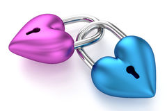 lucchetti del cuore 3D Fotografie Stock Libere da Diritti