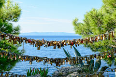 Lucchetti di amore Makarska fotografia stock libera da diritti
