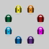 Lucchetti dipinti nei colori dell'arcobaleno Fotografia Stock Libera da Diritti