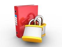 Lucchetti rossi di Ring Binder Protected By Two dell'ufficio Fotografie Stock Libere da Diritti