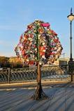 Lucchetti variopinti di nozze su un albero del metallo Fotografia Stock Libera da Diritti