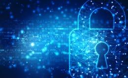 Lucchetto chiuso su fondo digitale, su sicurezza cyber e su sicurezza di Internet illustrazione di stock