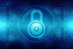 Lucchetto chiuso su fondo digitale, sul fondo cyber di sicurezza di Internet e di sicurezza Fotografia Stock Libera da Diritti