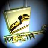 Lucchetto con la chiave di ricchezza che mostra a ricchezze la rappresentazione di risparmio 3d illustrazione di stock