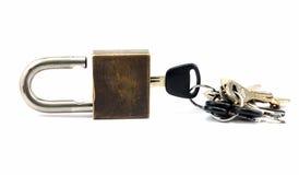 Lucchetto con le chiavi Fotografia Stock