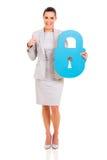 Lucchetto di sicurezza della donna immagini stock