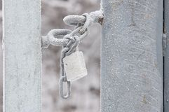 Lucchetto Locked con neve fotografie stock