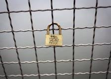 Lucchetto sulla rete fissa di Chainlink. Fotografie Stock Libere da Diritti