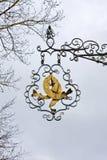 Lucci dorati che appendono segno, lago Starnberg Fotografie Stock Libere da Diritti