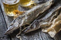 Luccio del pesce: secco, secco con un vetro di birra Immagini Stock Libere da Diritti