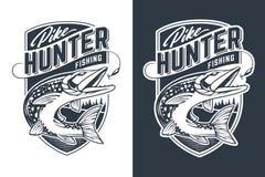 Luccio Hunter Vector Emblem Design illustrazione vettoriale