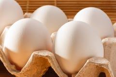 Luce accesa uova del pollo di mattina Chiuda su, f selettiva Fotografia Stock Libera da Diritti