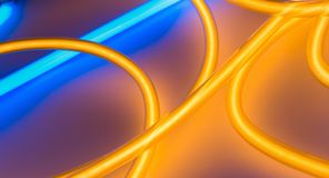 Luce al neon d'accensione arancio e blu illustrazione di stock
