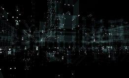 Luce al neon della città futuristica 3d di paesaggio urbano Immagine Stock