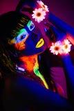 Luce al neon della ragazza Immagini Stock Libere da Diritti