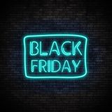 Luce al neon di Black Friday sul muro di mattoni Illustrazione di Stock