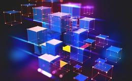 Luce al neon Tecnologia di Blockchain Blocco informativo nella composizione volumetrica royalty illustrazione gratis