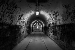 Luce all'estremità del tunnel in bianco e nero Immagine Stock Libera da Diritti