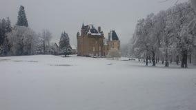 Luce bianca del nero della neve del paesaggio di inverno nebbiosa immagini stock libere da diritti