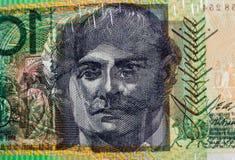 Luce che splende attraverso 100 stampe di rappresentazione della banconota in dollari del ritratto Fotografia Stock