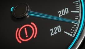 Luce d'avvertimento del sistema di frenatura nel cruscotto dell'automobile 3D ha reso l'illustrazione illustrazione vettoriale