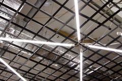 Luce del giorno da una lampada fluorescente che appende sul soffitto in una stanza di produzione Immagini Stock Libere da Diritti