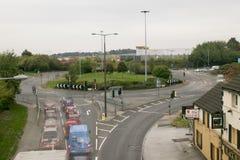 Luce del giorno lunga di traffico di ora di punta di Barnsley della rotonda di Stairfoot ex immagine stock