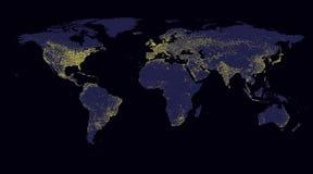 Luce del mondo della mappa Fotografia Stock