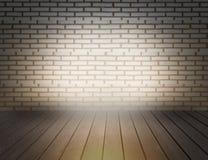 Luce del muro di mattoni con il pavimento di legno Fotografie Stock Libere da Diritti