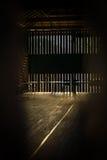 Luce del raggio di Sun sulla parete di legno vuota Immagine Stock