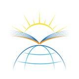 Luce del sole dei raggi di sole della terra del sole del libro nuova simbolo di logo dell'illustrazione di vettore Immagini Stock