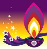 Luce della candela di Diwali Fotografia Stock