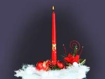 Luce della candela di Natale. Fotografia Stock