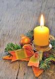Luce della candela di Natale Fotografia Stock