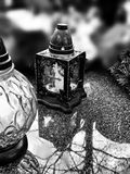 Luce della candela Sguardo artistico in bianco e nero Immagine Stock