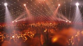 Luce della fase 3d di concerto della folla stock footage