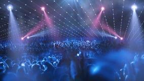 Luce della fase 3d di concerto della folla archivi video