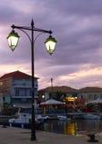 Luce della lampada nella sera Fotografie Stock