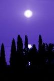 Luce della luna blu del mare fotografie stock