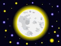 Luce della luna e stella Immagini Stock Libere da Diritti
