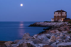 Luce della luna sopra la baia di Chesapeake Fotografia Stock Libera da Diritti