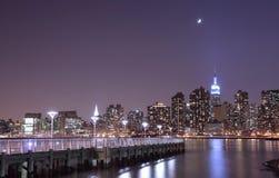 Luce della luna sopra NYC Immagine Stock Libera da Diritti